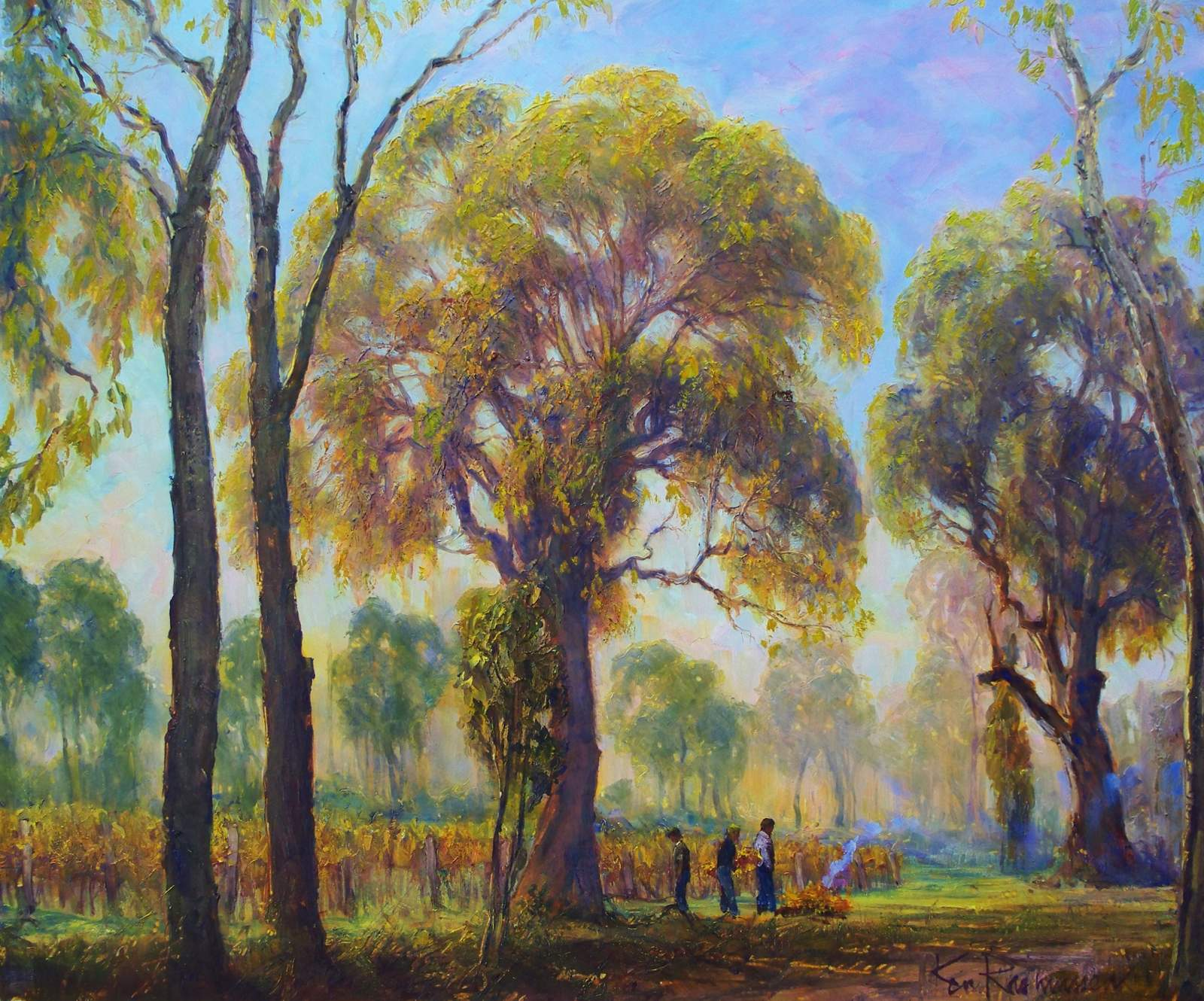 Oil painting by Ken Rasmussen titled - Autumn pruning beside Caves Rd