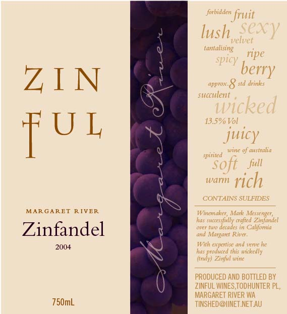 Zinful Zinfandel label
