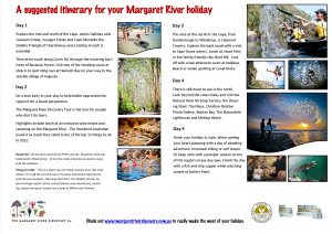 Suggested itinerary for Margaret River holiday
