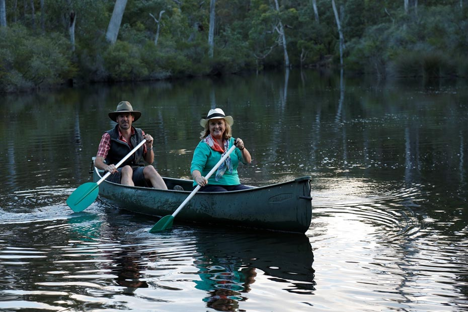 Lyndey with Sean Blocksidge of The Margaret River Discovery Co canoeing on Margaret River 2